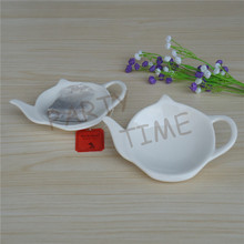 Ceramic tea pot shape bag dish, saucer for infuser mesh