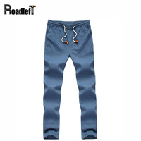 Male Cotton Linen Thin Casual Skinny Joggers Pants Mens Fashion Harem Trousers Pants Men Chino Khaki