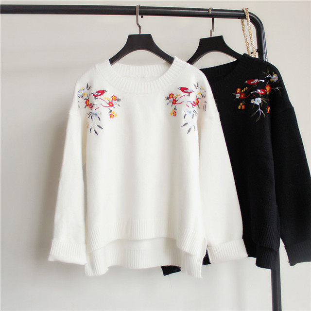 Harajuku female sweater pullover 2016 autumn and winter new Korean knit coat embroidered flowers retro sweater women