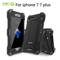 For iPhone X 8 R JUST Anti knock shockproof Metal Doom Cover Case For IPhone 7 8 Plus protection shell tempered glass