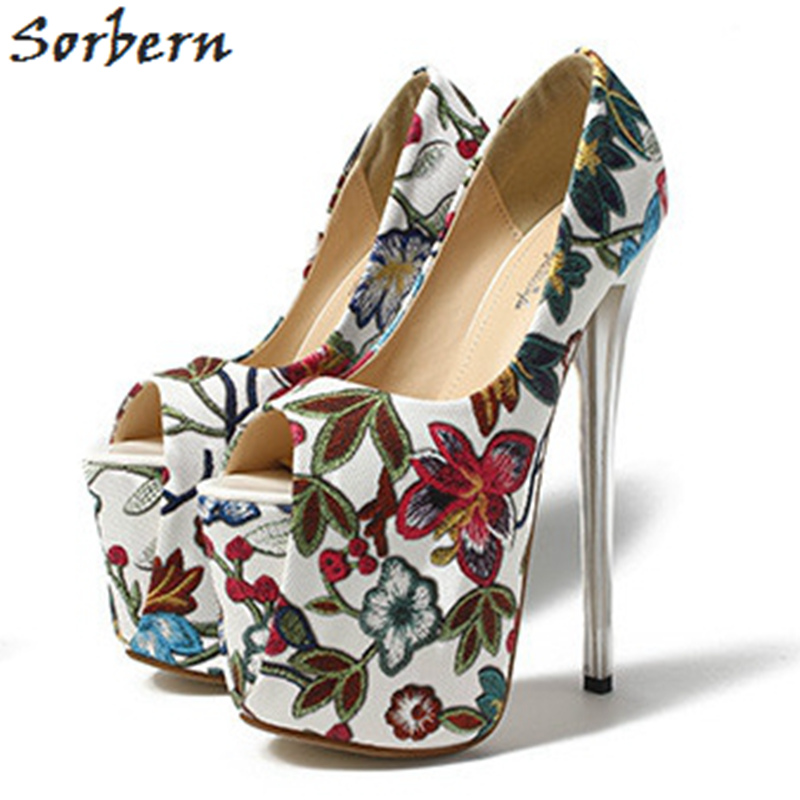 Sorbern Flower Women Pumps Peep Toe Slip On Shoes Super High Heels 19Cm/9Cm Platform Shoes Size 11 Women Shoes Designer Heels manmitu10 free shipping european vogue peep toe club shoes women high heels girls sexy buckle sequined cloth platform pumps 19cm