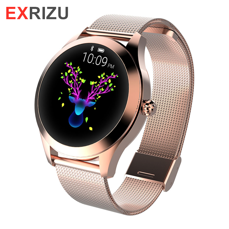 EXRIZU 2019 KW10 Smart Watch Women IP68 Waterproof Heart Rate Monitoring Bluetooth for Android iOS Fitness Bracelet SmartwatchEXRIZU 2019 KW10 Smart Watch Women IP68 Waterproof Heart Rate Monitoring Bluetooth for Android iOS Fitness Bracelet Smartwatch