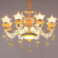 Европейская хрустальная люстра из цинкового сплава, подвесные светильники для гостиной, спальни, ресторанные осветительные приборы, роско