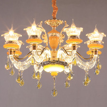 European Crystal LED Chandelier Zinc Alloy Living Room hanging lights Bedroom Restaurant fixtures Luxury Villa Light Candle lamp