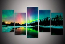 5Piece Wall Painting Prints Poster Colorful Aurora Borealis Canvas Painting Quadro Decor Abstract Painting Canvas Print Pictures