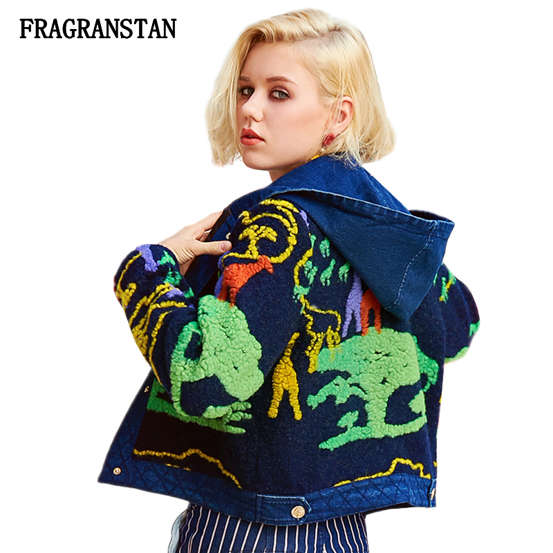 Women Winter New Thick Hooded Woolen Coat Fashion Cartoon Printed Denim Patchwork Parkas Personality High Quality