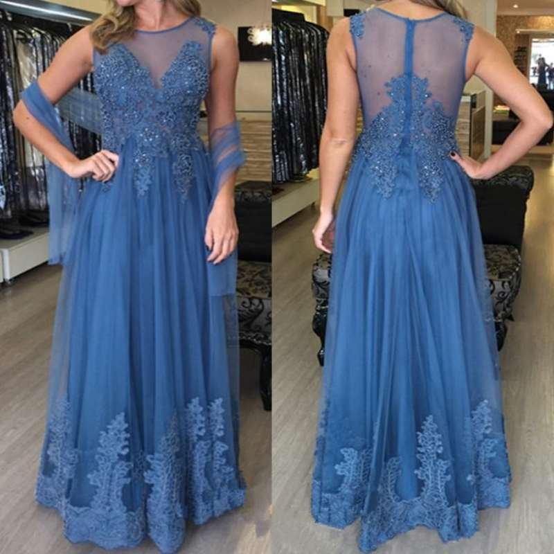 2019 Formal   Evening     Dress   2019 Blue Lace appliques with beads Sweep floor Robe de soiree   evening   gown