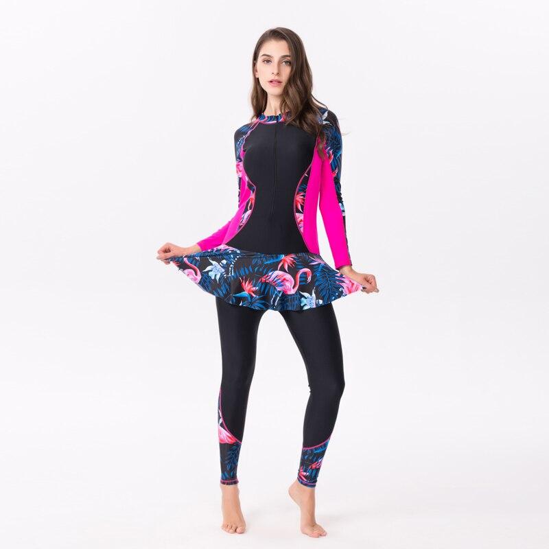 Bikini 2019 Plus Size One-piece Swimwear Women Long-sleeved Swimsuit Women Push Up Padded Skirt Dress Print Summer Beach Suit6XL