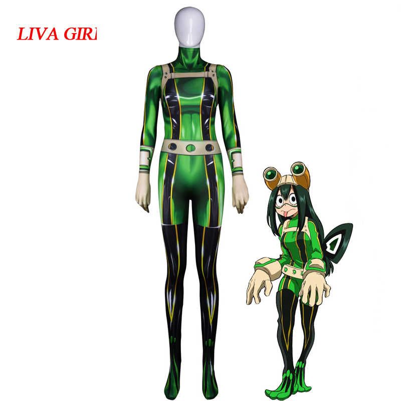 Asui Tsuyu Anime 3D Women My Hero Academia Boku no Hero Academia Asui Tsuyu Cosplay Costume Zentai Bodysuit Suit Jumpsuits
