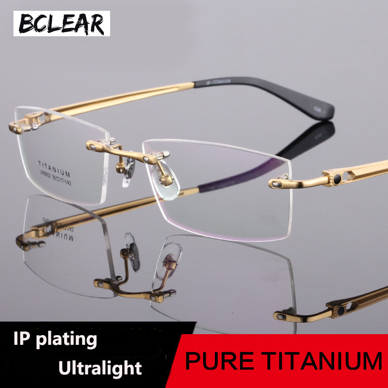 BCLEAR Vintage Lightweight Rimless Glasses Frames Noble Titanium Eyeglasses Spectacle Business Men Prescription Optical