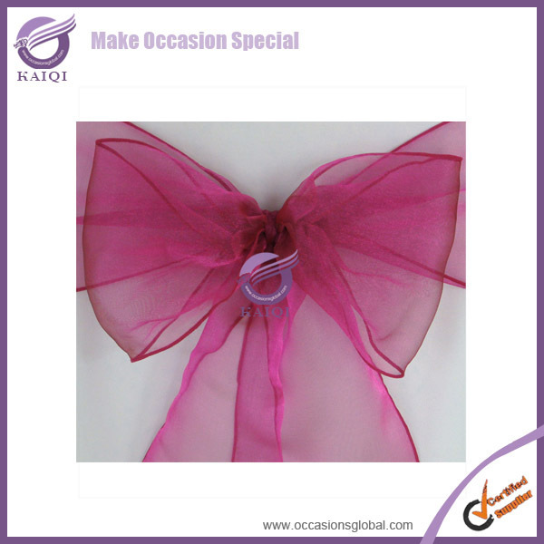 Free shipping 3522 fuchsia Free shipping 50pcs new  sparkle organza chair sashes/chair bow  wedding party banquet decoration