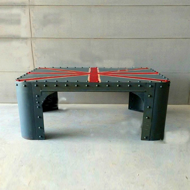 Beau French Industrial Furniture Great Britain Flag Painted Rivets Metal Coffee  Table Living Room Coffee Table Tea