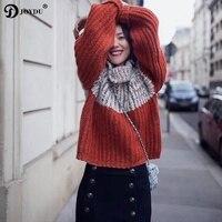 JOYDU Oversize Turtleneck Lazy Style Women Sweater 2018 New Runway Designer Thick Warm Winter Knitted Pullover Block Jumper Tops