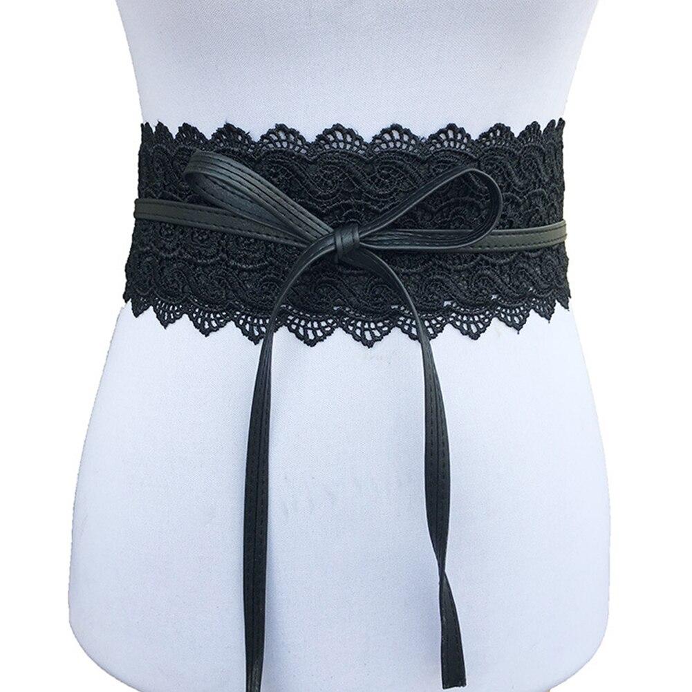 Fashion Women Dress Bowknot Faux Leather Lace Wide Decor Belt Girdle Waist Band