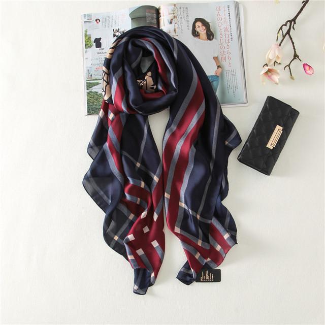 Novo presente de natal de ano novo de seda das mulheres inglaterra xadrez cachecóis [peacesky] 2016 moda bandana scarve luxo