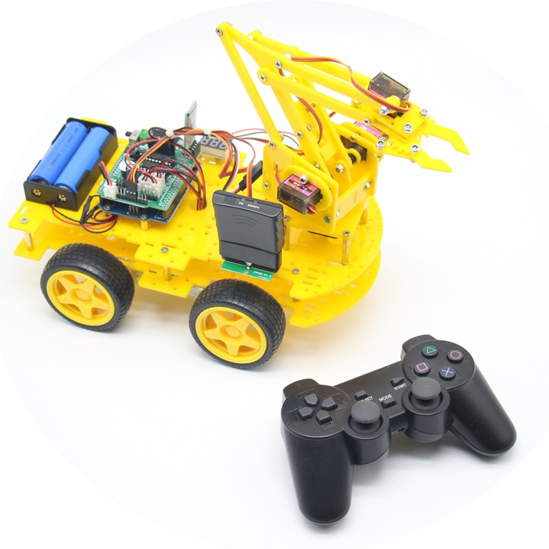 DIY meArm Robot Arm Car for Ardunio Program with PS Wireless Remote Control Toy Blue/Yellow /Black RC Model For Kids Gift