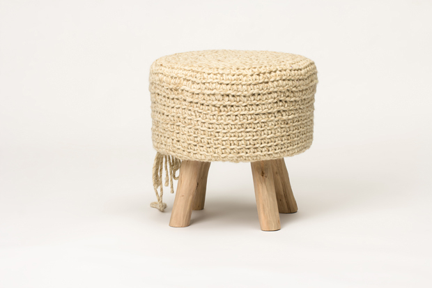 Stupendous Ivory Wool Stool With Wood Leg Modern Ottoman Bench In Pdpeps Interior Chair Design Pdpepsorg