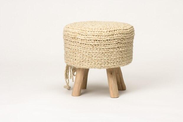 Marfil heces de lana con las piernas de madera moderna otomana banco ...