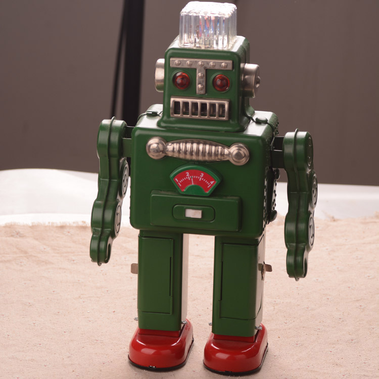 30 cm Tinplate Big Robot Toys Classic Electric Lighting Robot Toy Handmade Crafts Collection купить