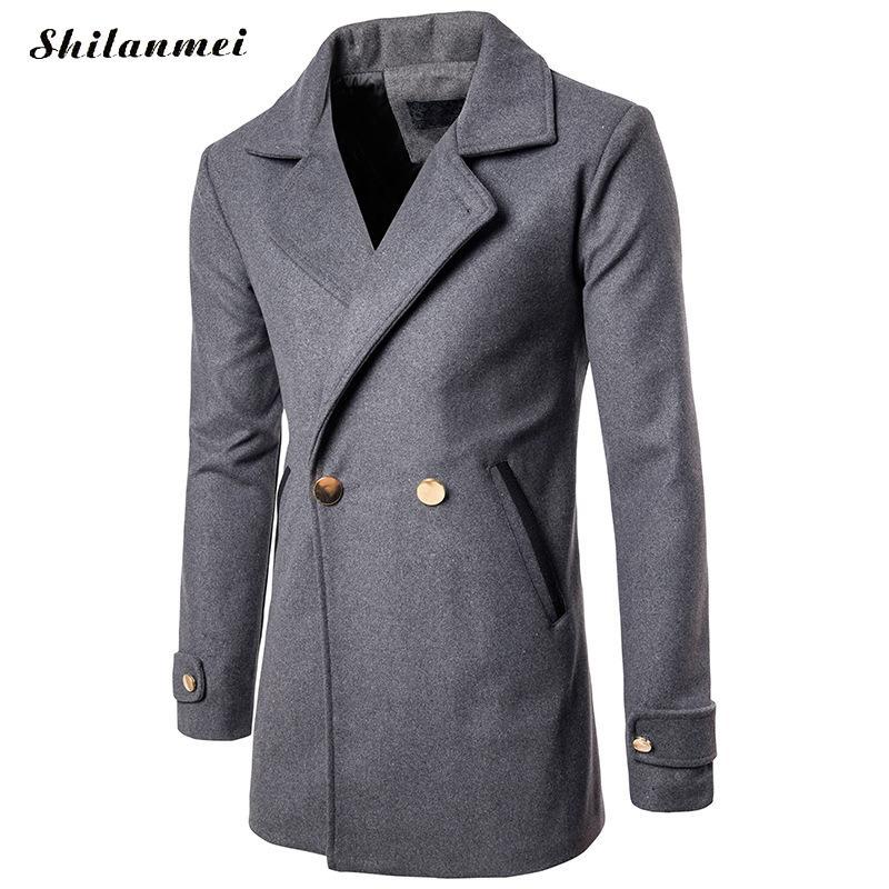 Doppio Cappotto Modo Inverno Collare Petto Il Sottile gray