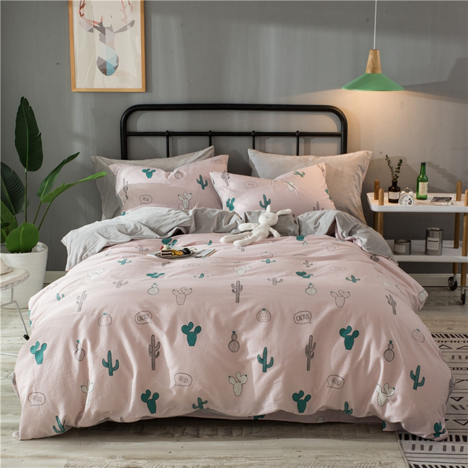 Cute Pink Quilt Cover Cactus Pattern Bedding Set Flannel
