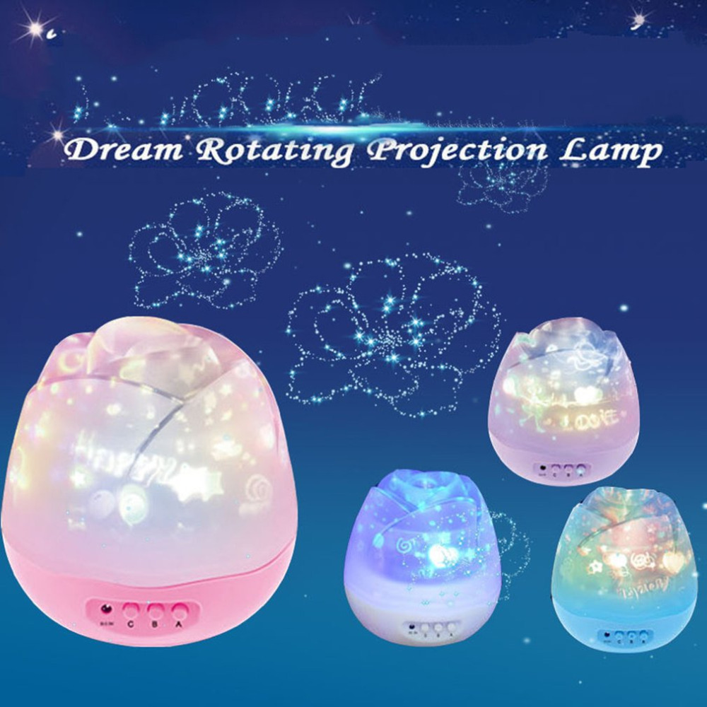 Creative Rose Shape Star Star Projeksjon Night Light Romantisk Høydepunkter LED Batteri Batteri Desk Lamp for ...