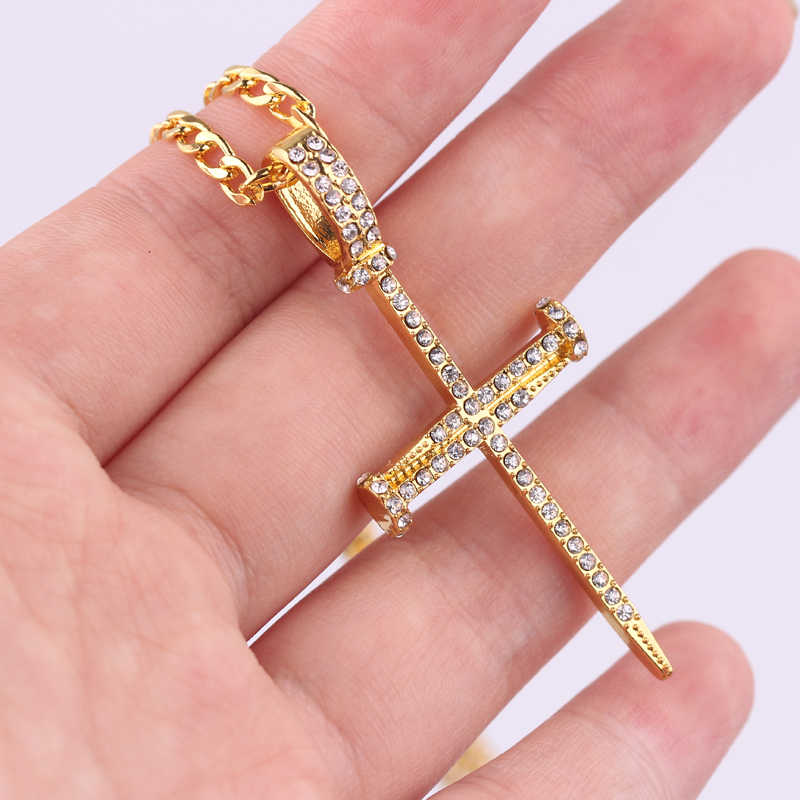 Gold Color Rhinestone Cross Pendant Necklace Chain For Men Women And Girl Gift Chokers Chockers Bijoux Femme Hip Hop Jewelry