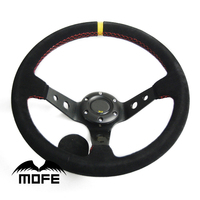 Original Logo 14 Inch 350mm 90mm Deep Corn Dish Suede Leather Steering Wheel For Sport Racing