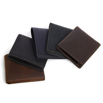 Simple short paragraph horizontal edition leather wallet leather leisure wallet purse retro crazy horse leather wallet фото