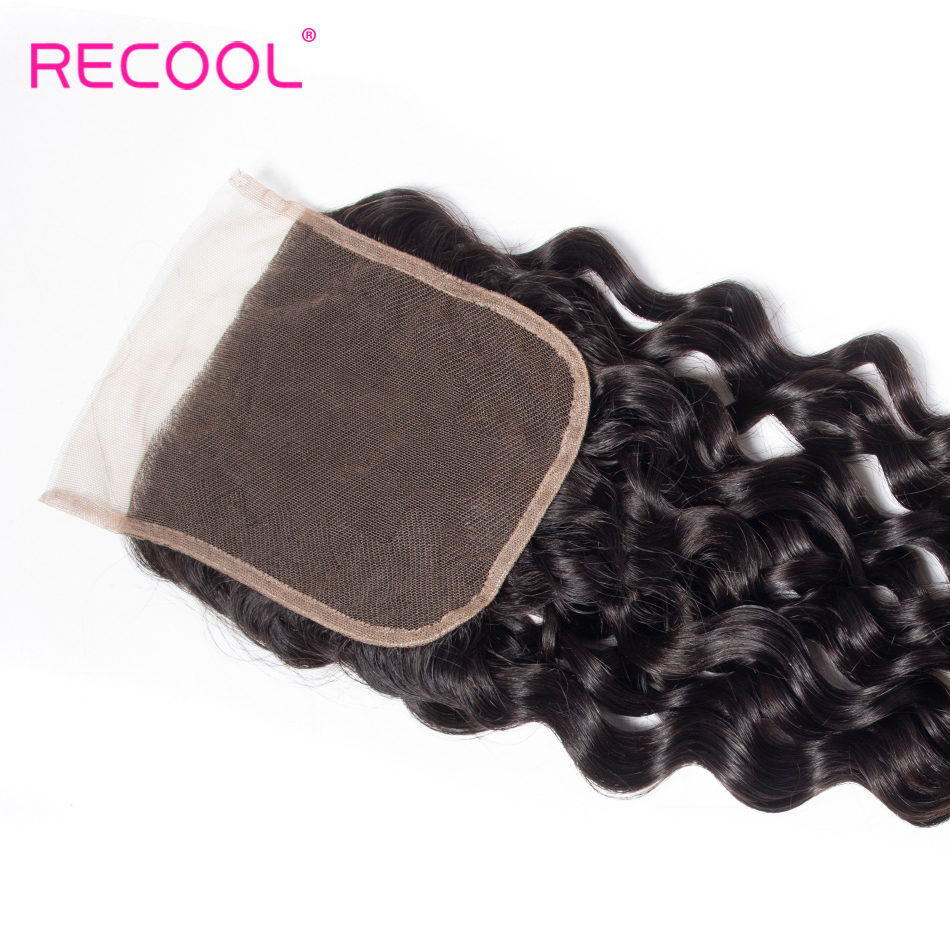 Recool Hair 5x5 Lace Closure Brazilian Hair Remy Human Hair Weave Free/Middle Part Swiss Lace Water Wave Closure 150% Density