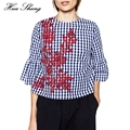 Новые Моды для Женщин Клетчатую Рубашку Цветочный Вышивка Плед Flare Рукавом Свободные Плюс Размер Блузки Дамы Топы Блузка Женская
