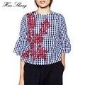 Nuevas mujeres de la manera camisa a cuadros floral a cuadros bordados flare manga suelta más las blusas de las señoras remata la blusa para mujer