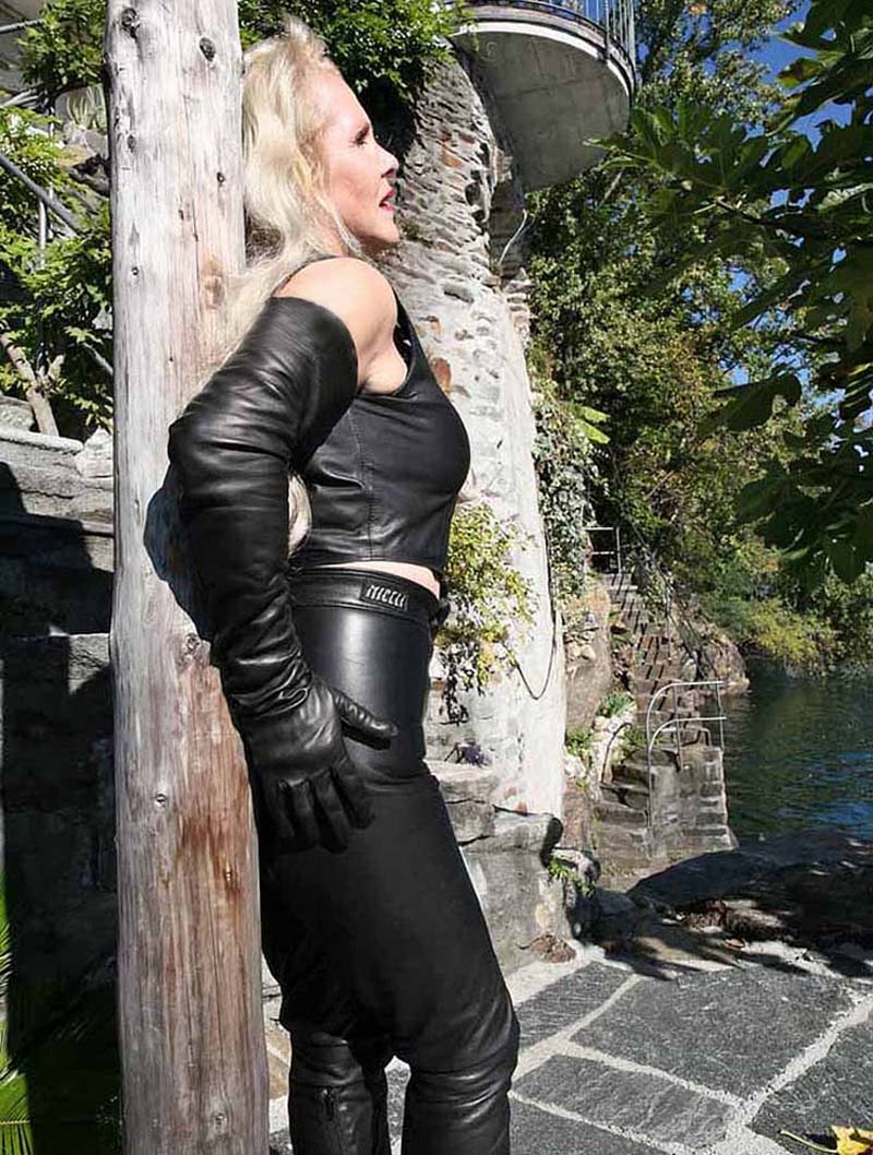Image 2 - lady real sheep leather  super long shoulder long leather gloves black-in Women's Gloves from Apparel Accessories