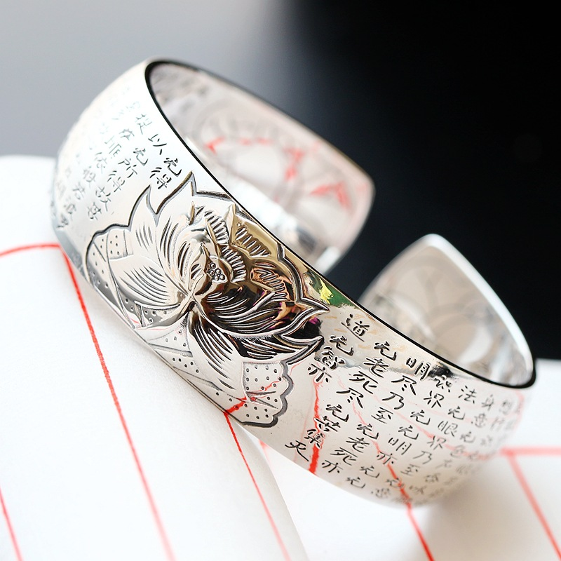 Retro Silver Jewelry Wholesale S990 Sterling Silver Bangle Bodhisattva Heart Bangle Silver Lotus Flower Wide Open Ended Bangle blue original letter wide bangle