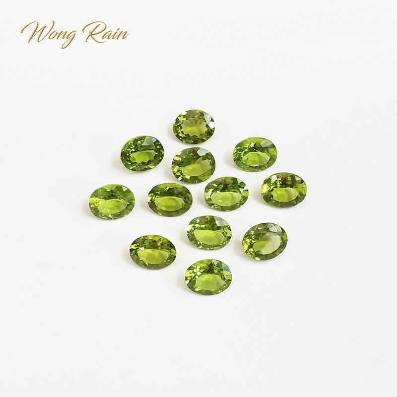 Wong Rain 1 PCS Natural 3 * 4 MM Oval Cut Natural Peridot Loose Gemstones DIY Stones Decoration Jewelry Wholesale Lots Bulk