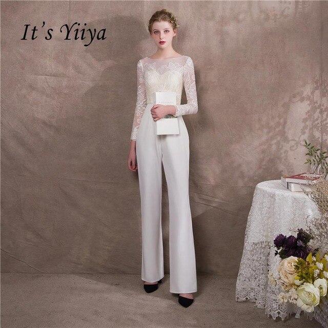 It s Yiiya New Illusion Lace Long Sleeves Zipper Empire Party Dress Elegant  Jumpsuit Formal Pant Suit Evening Dress Pants NX005 0ebe3e5db8d2