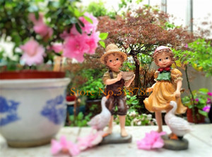 Image 5 - 22 cm/24 cm alta decoração do jardim ao ar livre arte resina americana menina e menino jardim estatuetas casa jardim quintal decoração