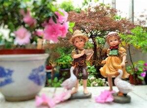 Image 5 - 22cm / 24cm High Garden Decoration Outdoor Art Resin American Girl and Boy Garden Figurines House Garden Yard Decor