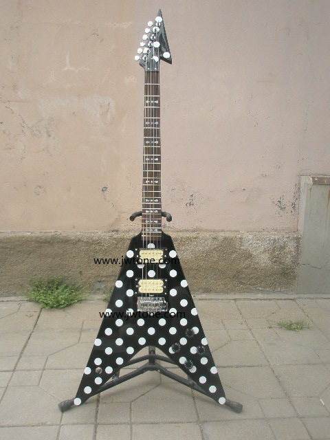 Randy Rhoads Guitar Harpoon Polka Dot Flying V standard electric Guitar Replica Collectible