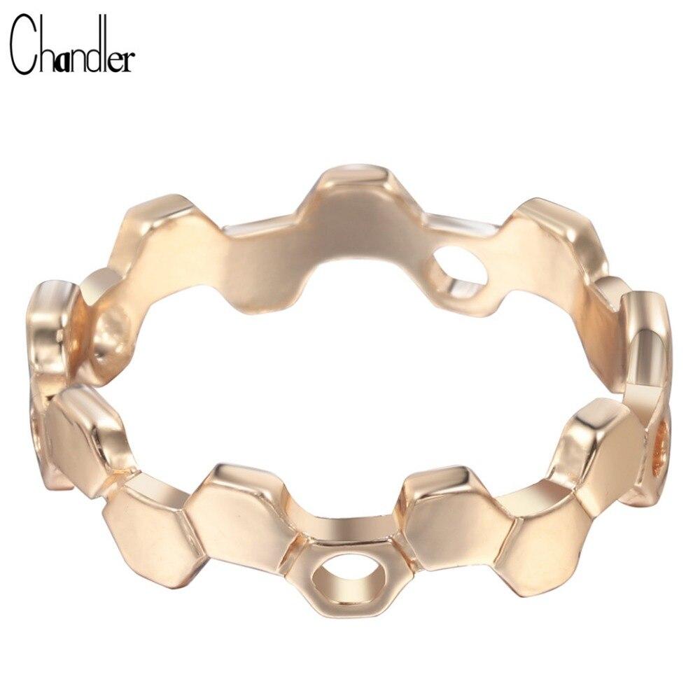 Чандлер золотой пластине вафельная гекса кольца любовь Promise Ring Uinque геометрических Модные украшения для Для женщин Анель женский Homme Bijoux