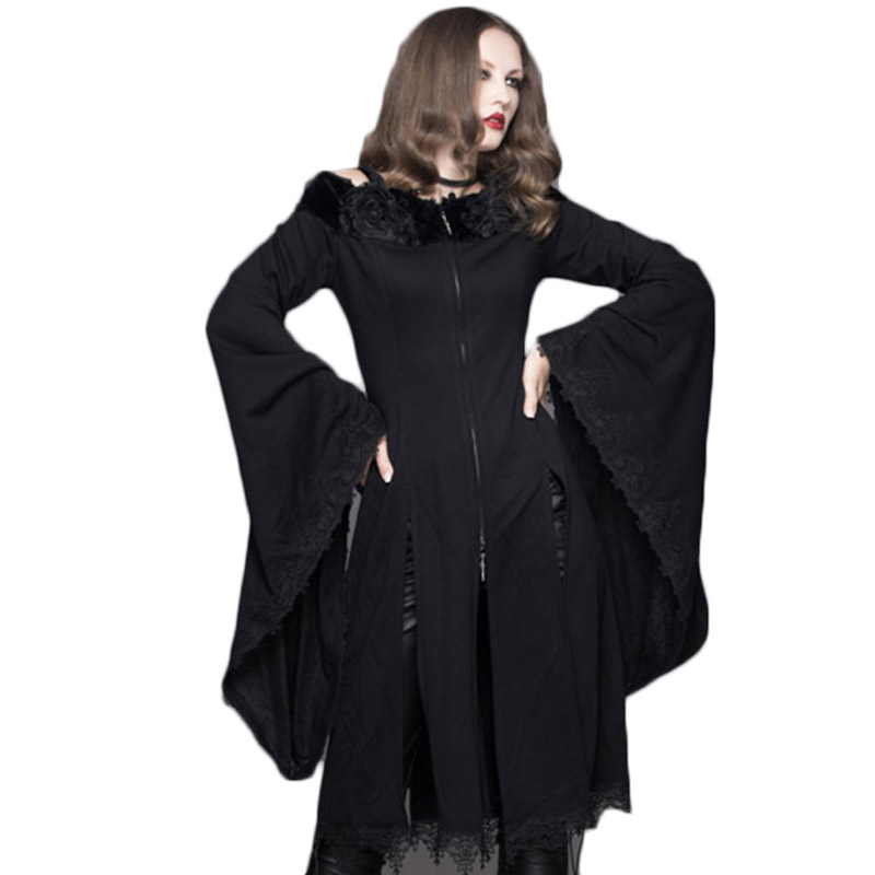 Steampunk Gothic Winter Women Slash Neck Sexy Coat Flare