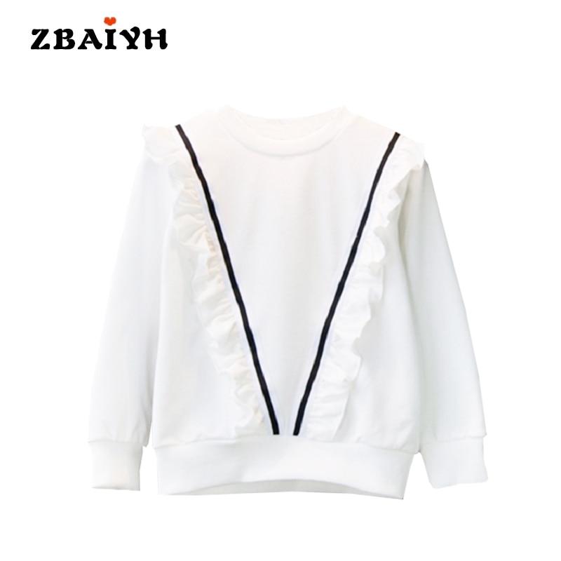 Enfants Sweat V-Bande décorer Mode Bébé fille chothes T-shirts Blanc O-cou  pull Coton À Manches Longues Enfants vêtements 11e59a9208b7