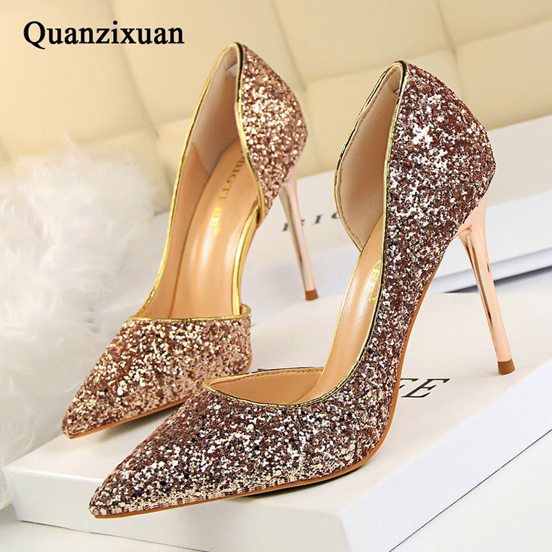 Women Pumps Bling High Heels Women Pumps Glitter High Heel Shoes Woman Sexy Wedding Party Shoes Gold Silver aidocrysta bling bling crystal high heel shoes glitter blue platform rhinestone wedding shoes women