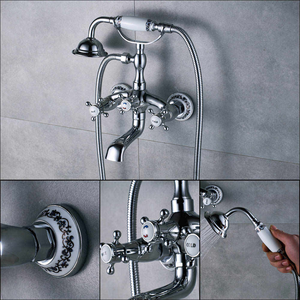 Lüks Küvet Bataryaları Altın Pirinç Banyo Musluk musluk bataryası Duvara Monte El Düzenlenen Duş Başlığı Seti Duş Musluk Setleri