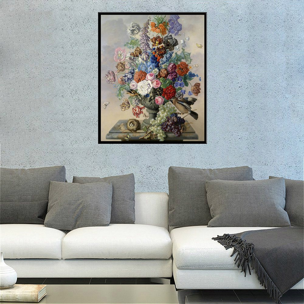 1pc Colorful Flowers Bonsai Oil Painting Printed Canvas Unframed Wall Art for Home Decoration Modern Art Work Dropshipping Gift in Painting Calligraphy from Home Garden