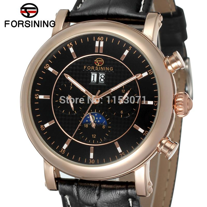 все цены на Free shipping  FSG553M3R2 latest  arrival Automatic with moon phase men dress watch black genuine leather strap   with  gift box онлайн