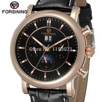 Free Shipping FSG553M3R2 Latest Arrival Automatic With Moon Phase Men Dress Watch Black Genuine Leather Strap