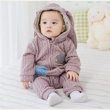 Newborn Clothes Baby Romper Long-Sleeve Jumpsuit Baby Girl Costume Winter Baby Clothing Baby Cartoon Jumpsuit with Hooded(China)