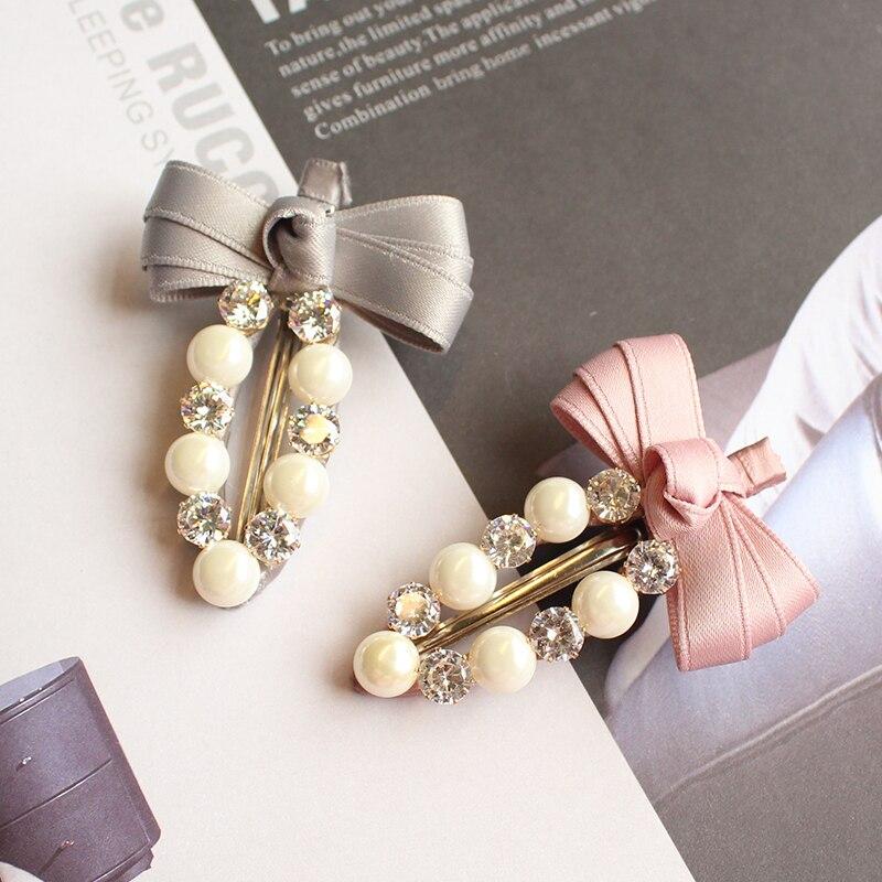 New 2017 Ribbon Bow Gliter White Pearls Hairpins Girls Shiny Barrette Crystal Zircon Beads Hair Ornaments Headdress