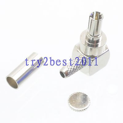 50pcs Connector CRC9 plug pin crimp RG174 RG316 LMR100 RF COAXIAL Right angle стоимость